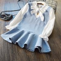 特~女童学院风条纹假两件套连衣裙 2018春装新款儿童韩版系带裙衫