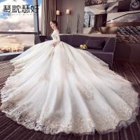 婚纱礼服2018新款长袖冬季新娘欧美公主梦幻长拖尾大码一字肩显瘦
