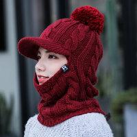 帽子女冬天户外保暖加绒加厚一体骑车帽冬季防寒防风帽护耳毛线帽新品 均码(54-60cm)退货免运费