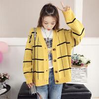 针织衫 女士学生格子单排扣短款针织开衫2019秋季新款韩版时尚女式休闲开衫女装毛衣外套