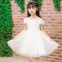 女童夏季蓬蓬公主裙子儿童生日露肩白色礼服裙演出表演舞台连衣裙