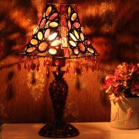 普润 古典串珠欧式台灯床头灯灯饰 彩片方锥罩