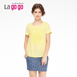 lagogo拉谷谷夏季新款纯色拼接镶钻舒适女打底衫女