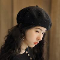 韩版闪亮满天星贝雷帽女羊毛混纺纯色画家帽气质休闲蓓蕾帽