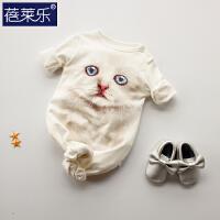 婴儿连体衣服宝宝新生儿哈衣0岁3个月睡衣6满月1春装外出服