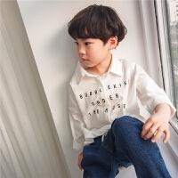 男童白色衬衫儿童长袖上衣2018春秋新款薄韩版春装纯棉小孩打底