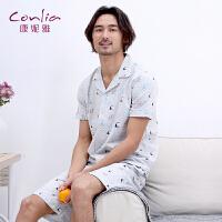 康妮雅2016夏季家居服 男士短袖短裤睡衣套装 经典小翻领开衫