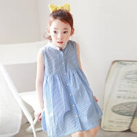 韩版儿童沙滩裙女童装海边度假连衣裙宝宝夏季条纹背心短裙单排扣