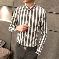 春装新款衬衣英伦潮男条纹字母印花修身长袖衬衫帅气百搭青年寸衫