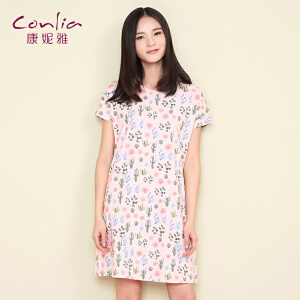 康妮雅家居服夏季新款短袖睡裙女夏韩版可爱碎花裙子可外穿家居服