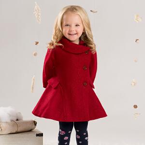 戴维贝拉  女童冬装毛呢外套 宝宝加厚保暖羊毛大衣DB4038