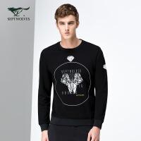 七匹狼长袖T恤 男士圆领卫衣时尚摩登系列潮流T恤 男装 6015652