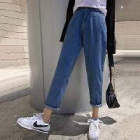 牛仔裤 女士高腰宽松九分牛仔裤2020秋季新款韩版时尚女式洋气休闲裤女装直筒裤