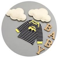 男童t恤长袖新生儿春装3-6-9个月宝宝圆领拼色打底衫2017新款韩版