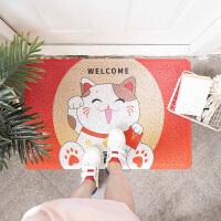 日式卡通招财猫圈丝进门地垫入户门垫刮泥脚垫厨房卫生间防滑垫子