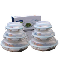 GLASSLOCK三光云彩钢化玻璃保鲜饭盒密封盘子6件套装礼盒GL101-6
