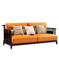 新中式实木真皮沙发 现代轻奢客厅123组合橙色样板房工程定制家具 组合
