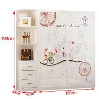 衣柜推拉门简约现代卧室经济型实木板式家具组装定制卧室柜子 2门
