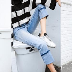 七格格九分牛仔裤女春装2018春季新款韩版百搭高腰显瘦学生长裤子女