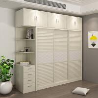 现代简约整体移门滑门大衣橱卧室推拉门大衣柜衣帽间板式家具柜子 +边柜 3门 组装