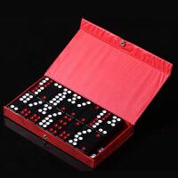 实心骨牌牌九加重牙牌加厚黑色木盒装牌九牌棋牌麻将 黑色 6.0*2.3*1.0