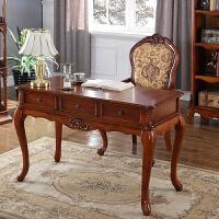 美式实木书桌办公桌书架组合电脑桌台式家用写字台欧式书房家具 否