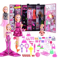 芭比娃娃套装大礼盒女孩公主美人鱼玩具换装梦幻衣橱别墅城堡衣柜