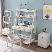 北欧书桌简约家用卧室学生写字台学习桌电脑台式桌书架一体桌 一体桌 象牙白1.2米(4件套)