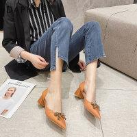 达芙妮法式小高跟鞋粗跟2021春季新款百搭尖头时尚蝴蝶结中空单鞋