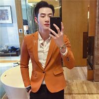 姜黄色西服外套男士小西装韩版修身潮流男装青年商务正装刺绣礼服