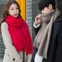 围巾女冬季男士韩版时尚百搭冬天简约围脖年轻人情侣长款潮流棉麻