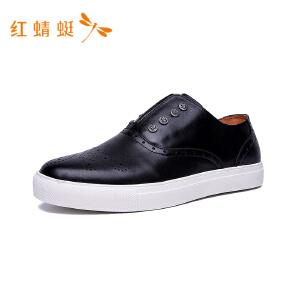 红蜻蜓男鞋时尚印花镂空透气男休闲鞋