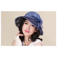 真丝帽子女遮阳帽韩版防晒帽可折叠大檐帽新款太阳帽