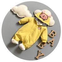 宝宝冬装0-1岁婴儿连体衣秋冬加绒男女婴儿爬爬服冬季加厚外出服3
