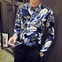男士韩版修身长袖衬衫发型师碎花衬衣英伦休闲夜店个性潮流花寸衫