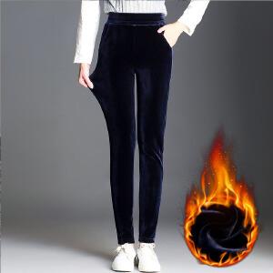冬季金丝绒打底裤女外穿加绒加厚韩版高弹力裤显瘦大码小脚裤长裤