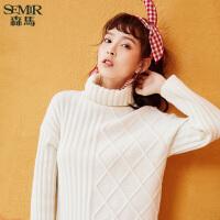 森马毛衣女2017冬季新款保暖高领白色针织衫线衫弹力百搭时尚潮流