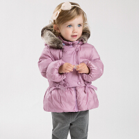 戴维贝拉女童冬季保暖轻羽绒服 宝宝加厚羽绒服DB4660