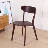 北欧餐椅实木简约现代单人休闲多功能椅子家用简易白橡木靠背椅子