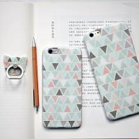 新款�有� 彩色三角原创文艺iphone6 plus手机保护套 苹果手机壳 支架礼品套装