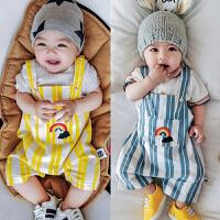婴儿背带裤宝宝夏季无袖吊带全棉夏装新生儿周岁外出大PP开档短裤