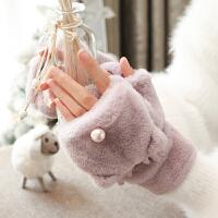 手套女冬天加绒学生时尚可爱萌韩版潮卡通加厚毛绒ins 骑行保暖棉手套