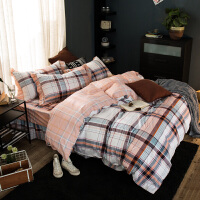 福存家居 四件套床裙式全棉加厚夹棉被套枕套床罩1.2米1.5米1.8米床