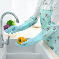 厚款厨房洗碗洗衣乳胶手套加绒橡胶长款手套家务防水手套
