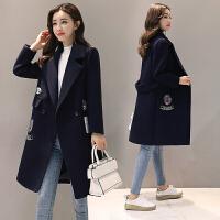 2018秋冬季新款毛呢外套加厚韩版呢子大衣女士外套宽松中长款女装