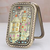化妆镜子便携 迷你复古便携化妆镜长方形双面小镜子创意折叠随身镜子 城堡3