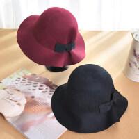 新款女士英伦复古大檐礼帽潮 韩版优雅蝴蝶结羊毛呢帽子盆帽黑色礼帽