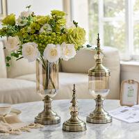 欧式美式家居装饰品玻璃花瓶花器 客厅餐厅透明水晶玻璃插花摆件