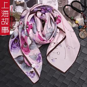 上海故事新款真丝围巾女春秋百变格子大方巾桑蚕丝领巾披肩两用
