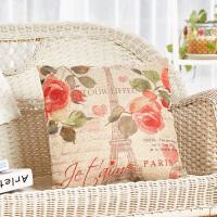 Evergreen爱屋格林美式室内外两用仿麻布环保印染可拆洗靠枕抱枕